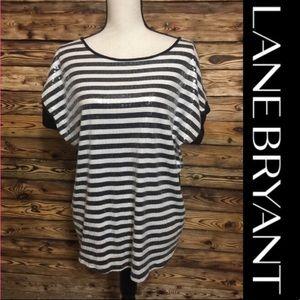 Lane Bryant Sequin Black White Top Like New 14/16